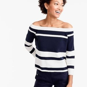 J.Crew Off The Shoulder Striped Navy & White Knit Sweater